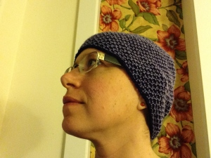 Fetching new soft wool hat knit by an anonymous kind soul.