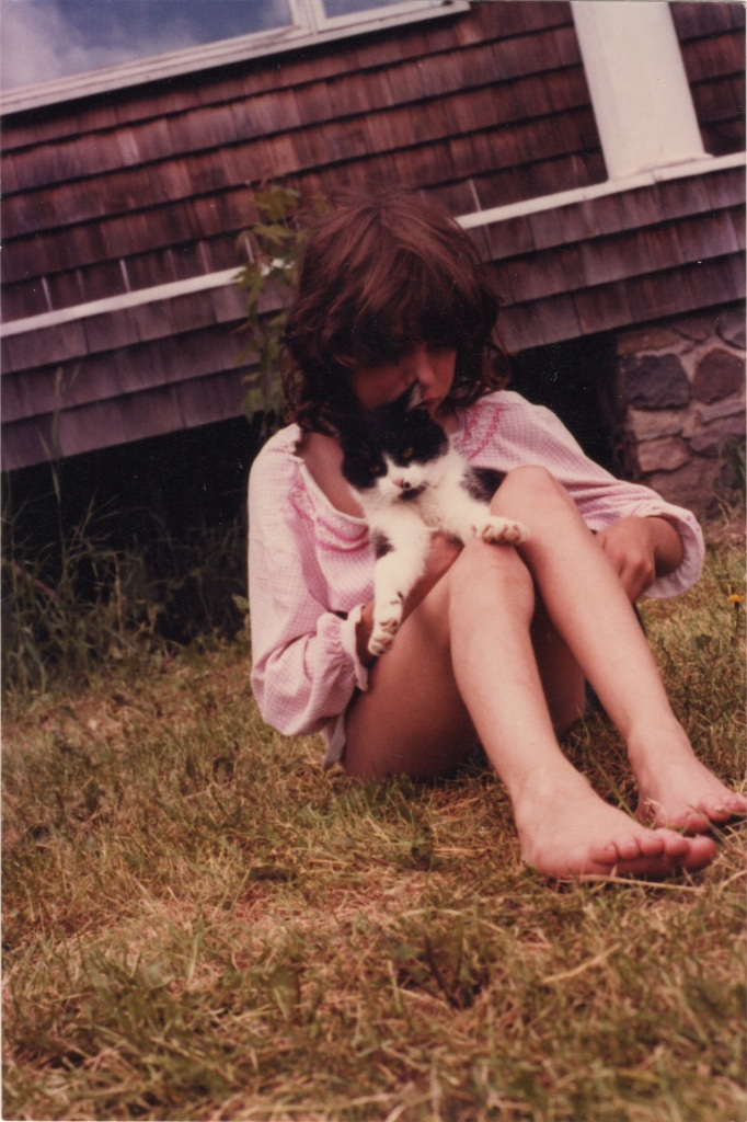 Hanging out with my cat Cinders, probably around 1978.