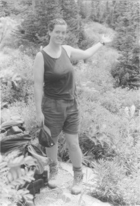 Patty Adelesberger  hiking in Glacier Park 1994