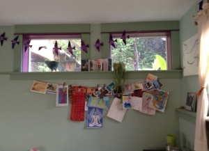 The Love Line of cards. The birds, made by my friend Rachelle, say Be Resilient!