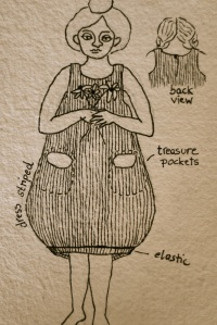 Concept drawing for one of the dresses