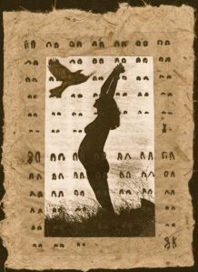 Creation: Crow flying with Coyote Chromosomes on cattail paper