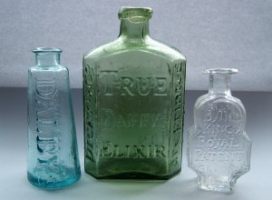 Early Patent medicine bottles.