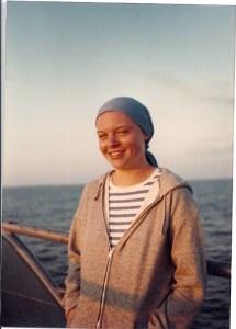 Meg sailing in Rhode Island around 1980