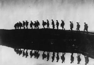 Australian soldiers World War I marching to the front lines.