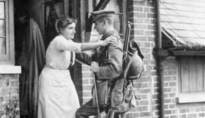 Mother saying goodby to her son World War I