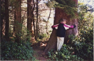 Edna embracing a tree in 1995.