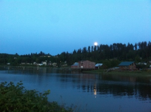 Alderbrook seen on a moonlit river walk stroll