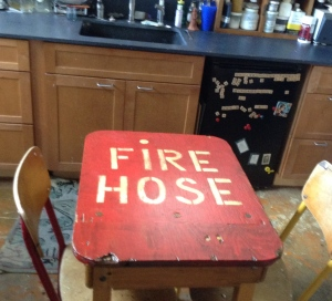 The fire hose desk I made in the clean side of my studio. I have been really enjoying hanging out down there all month.
