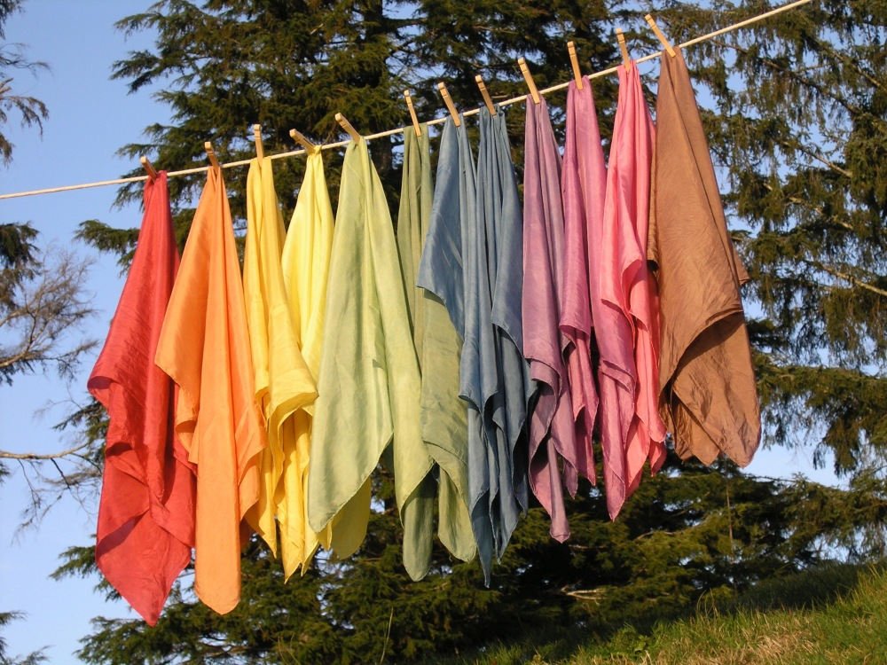 Rainbow of natural dyed silks.