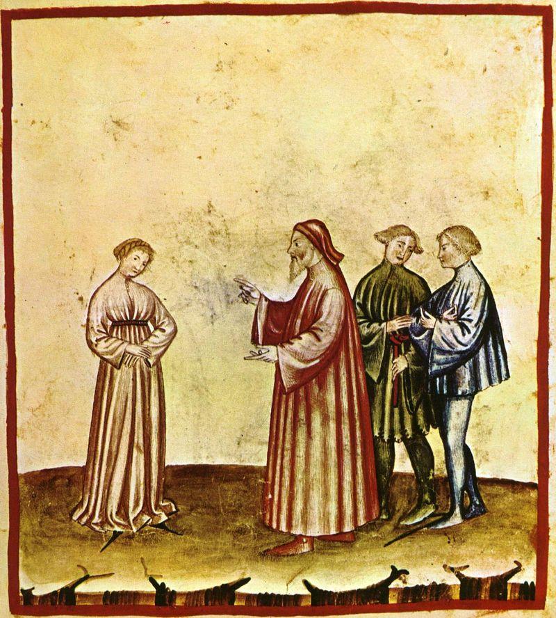 Portrait of Discretion 14th century manuscript