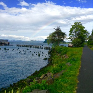 Rainbow and sunny skies on my walk home from work.