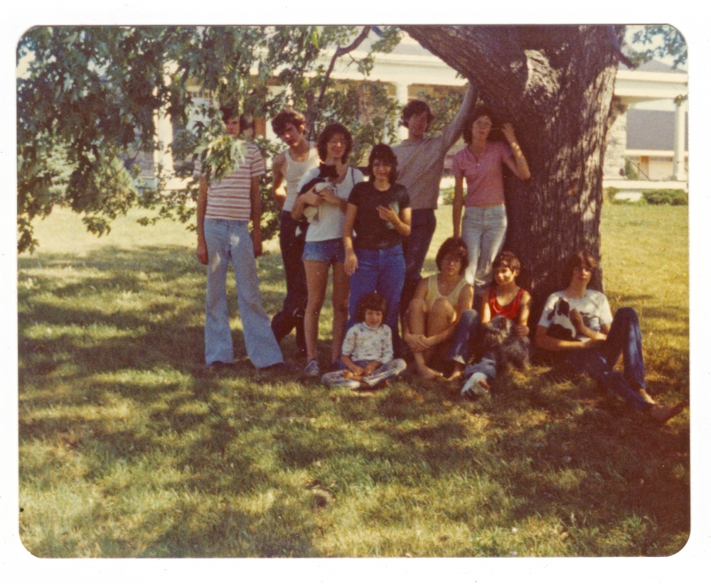 a family Portrait of Sullivan Siblings probably around 1974 next to the Silver Maple