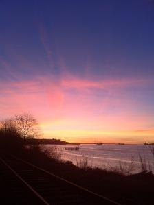 rosy sunset light