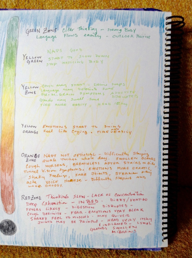 My personal energy management system as it appeared in my journal circa 2012. I used color to help me better gage how I was doing.