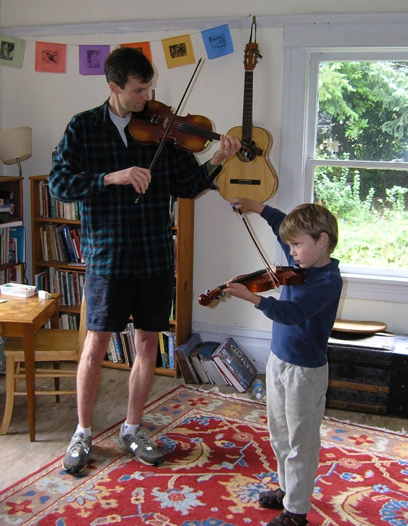 A moment in the brief but beautiful stage of Sam taking fiddle lessons.