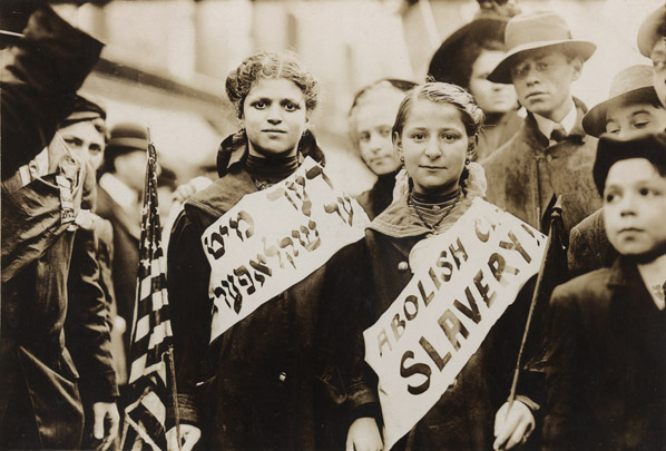 Garment workers on strike in 1909.