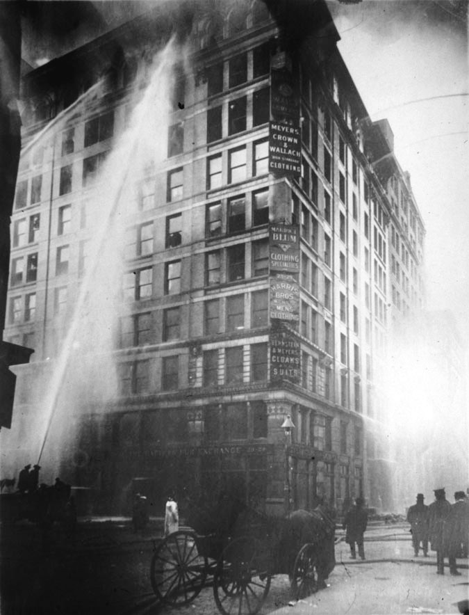 Bring to contain the blaze at the Triangle factory March 1911