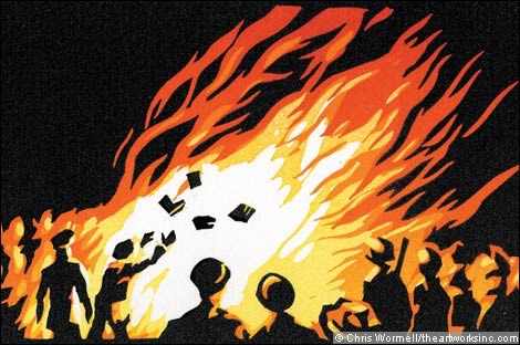 Depiction of book burning by artist Chris Wormell